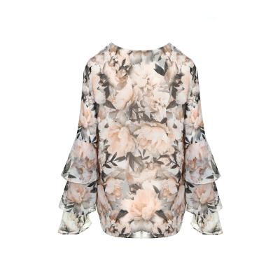 tiered detail flower blouse